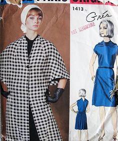 1960s FABULOUS Gres Coat and Dress Pattern VOGUE Paris Original 1413 Unique Dress Design Day or Cocktail Evening, Cape Like Sleeved Coat Bust  38 Vintage Sewing Pattern