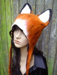 Red Fox Hand Felted Hat Winter ski wear flamboyant by KarenRao, £38.00