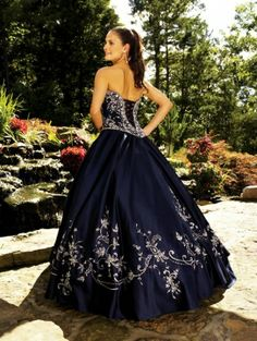 Navy Blue Ball Gown Strapless Embroidery Quinceanera Dress QD2C22