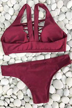 Cupshe Lingering Farewell Lace Up Bikini Set