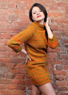 972616ba045 Casual dresses woman Knitted jumper dress Wool dress Long sleeve winter  dresses Orange sweater dress Short jumper dress Loose sweater dress