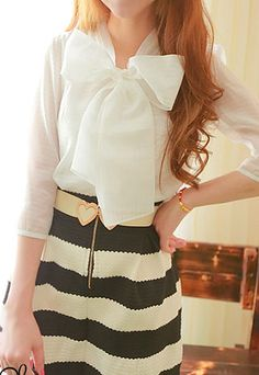 32.99 USD Sweet Chic Big Bowknot White Chiffon Shirt