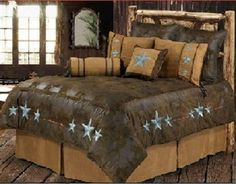 Western Turquoise Triple Star - 6 Pc Super Queen Comforter Bedding Set - SAVE BIG! #Rustic Bedding #Western Bedding