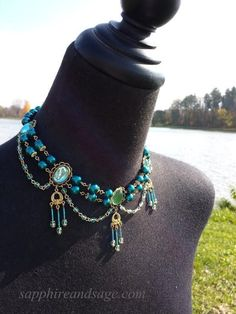 Penelope Renaissance Edwardian Victorian Steampunk Beaded Chandelier N – Sapphire & Sage Renaissance Jewelry and Accessories