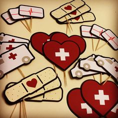 Nurse Cupcake Toppers (set of Medical Theme with Ambulance, Bandage, Heart, and Heartbeat Monitor Nurse Grad Parties, Nurse Party, School Parties, Nurse Cupcakes, Doctor Party, Nurses Week Gifts, Pinning Ceremony, Birthday Goals, Medical Gifts
