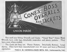 """vintage workwear: CONES """"BOSS"""" OVERALLS and JACKETS 1901 Print Ad"""