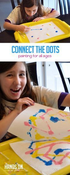 This connect the dots painting activity is super easy to set up and flexible to fit multiple aged kids. Kids Painting Activities, Preschool Art Projects, Art Activities For Toddlers, Preschool Arts And Crafts, Outdoor Activities For Kids, Painting For Kids, Projects For Kids, Preschool Activities, Art For Kids