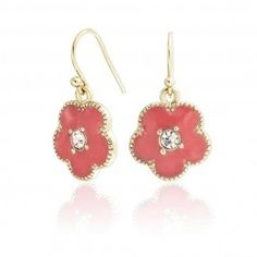 Bling Jewelry Gold Plated Crystal Red Coral Color Clover Flower Dangle Earrings