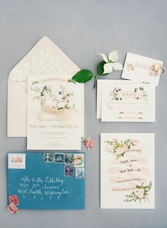 Blue and blush wedding stationary: http://www.stylemepretty.com/2016/04/27/60-of-the-most-unique-wedding-invitations-ever/ Photography: O'Malley Photographers - http://omalleyphotographers.com/