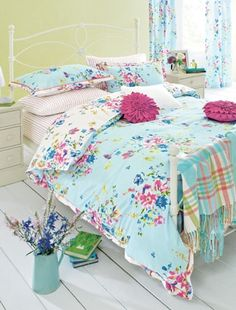 This season mix it with bright floral prints in similar pink and blue shades for a vibrant, feminine bedroom look. Bedding by Next.