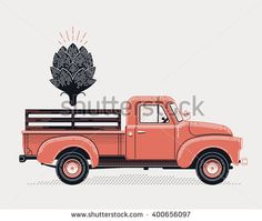 Cool vector concept design on delivery or supply with retro farm pickup truck and artichoke icon. Graphic engraving style illustration on vintage old style delivery flatbed truck vehicle - stock vector