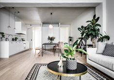 Vardagsrum i grå färger, fönsterfikusträd och rosa beetle-stolar från Gubi.