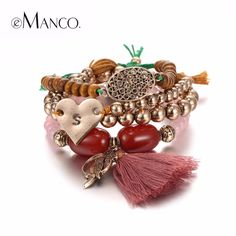 Free Match Ethnic Tassel Charms Bracelets & Bangles for Women Red Semi Precious Stones Beads Ancient Gold Plated Jewelry Like if you remember #Jewelry #shop #beauty #Woman's fashion #Products