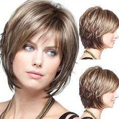 Women's Natural Short Curly Hair Wigs with Bangs Ombre Brown Blonde Cosplay Wig Short Shag Hairstyles, Short Hair Wigs, Short Hairstyles For Women, Hairstyles With Bangs, Straight Hairstyles, Curly Short, Short Cut Wigs, Real Hair Wigs, Haircuts