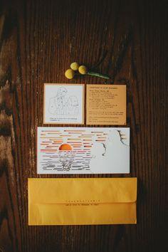 Sunset inspired wedding; bride & groom designed invitations - photography by justinegunneson.com