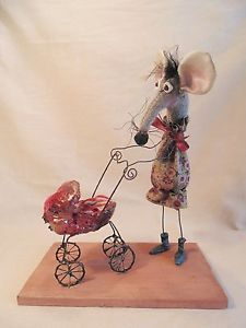 OOAK HAND MADE ART Sculpture of a Mother Mouse. Textile Doll Fairy funny