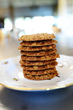 BROWN SUGAR OATMEAL COOKIES 1 c Salted Butter, Softened- 2 c Dark Brown Sugar- 2 tsp Vanilla Extract- 2 Eggs 1-1/2 c Flour- 1 tsp Salt- 1/2 tsp Baking Soda- 3 c Old Fashioned Oats-