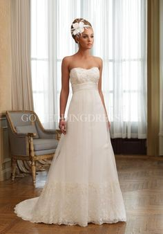 A-Line Floor Length Attached Point d' Espirit/ Lace Wedding Dress Style 210259 Kaylee