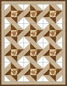 This masculine pre-cut quilt kit is perfect for the hunter, outdoors man or country guy with fussy-cut deer in a cameo surrounded with a few winter tone leaves on a birch tree background. There are 2
