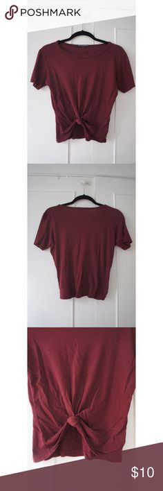BRANDY MELVILLE Red Knotted Bottom Crop T-Shirt Super cute Brandy Melville cropped tee. Deep red color with knitted front at the bottom. Like all Brandy Melville items, one size fits all. Brandy Melville Tops Tees - Short Sleeve