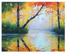 Autumn Art ORIGINAL OIL PAINTING River Impressionist Tree Vibrant Fall Landscape Fine Art by award winning artist Graham Gercken. $228.00, via Etsy.