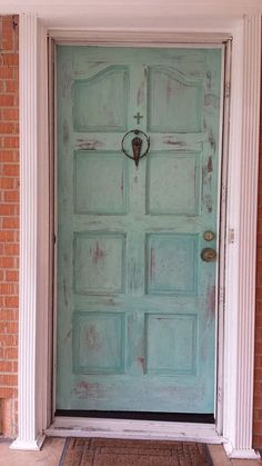 """Painted """"Patina"""" Front Door With Annie Sloan Chalk Paint - Distressed and painted with Annie Sloan Chalk Paint. I really like the look of patina and used a bras… Painted Exterior Doors, Painted Front Doors, Door Furniture, Chalk Paint Furniture, Furniture Makeover, Furniture Update, Furniture Ideas, Furniture Design, Distressed Doors"""