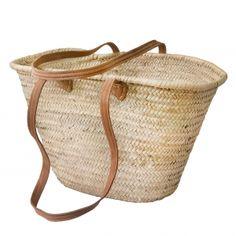 15627a61c8 Natural Basket long Flat Leather Handle Beach Basket