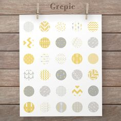 1 inch circle: digital downloads YELLOW GREY ARROWS circles patterns for pendants, bottle caps, paper craft, circle collage sheet, tribal