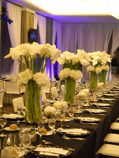 Calla lilly and hydrangea centerpieces - beautiful!