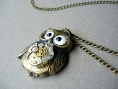 Steampunk Owl Necklace by MDsparks on Etsy, $29.00 - THIS ALWAYS REMINDS ME OF MY BEST FRIEND CAROLYN... OWLS.