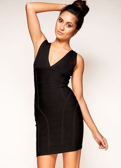 20d321a7f4f Cheap Herve Leger Black V Neck Signature Bandage Dress Sale