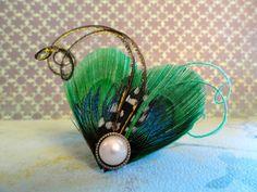 WINTER Heart and Soul Collection - Emerald Peacock Mini Clip, Fascinator. $16.50, via Etsy.