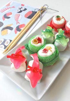 sweet gift idea - candy sushi #geschenkidee #süß #sushi