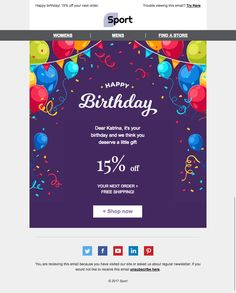 Set up our Happy Birthday email template Cheerful Party for Sport industry to the smallest detail and get started on your campaign! Happy Birthday Email, It's Your Birthday, Best Email, Email Templates, Little Gifts, Marketing, Sport, Words, Ideas