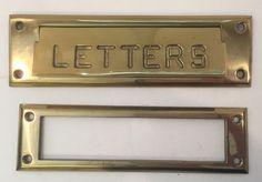 NOS Solid Brass Letters Mail Slot Plate Door Hardware VTG 1978 #Unbranded