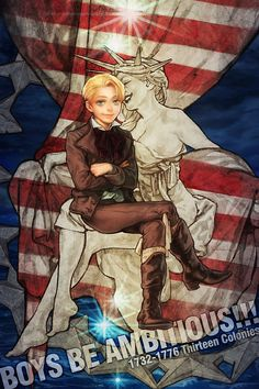 Young Alfred with...is that supposed to be Lady Liberty??? - Art by A K I