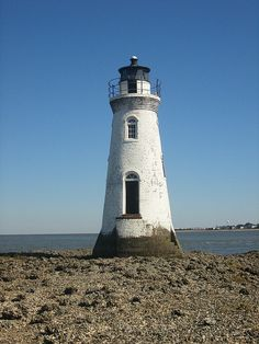 Cockspur Lighthouse near Savannah, Georgia, part of Fort Pulaski National Monument. ca. 1856