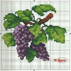 This Pin was discovered by Edi Cross Stitch Fruit, Cross Stitch Kitchen, Cross Stitch Tree, Cross Stitch Flowers, Cross Stitch Charts, Cross Stitch Designs, Cross Stitch Patterns, Cross Stitching, Cross Stitch Embroidery