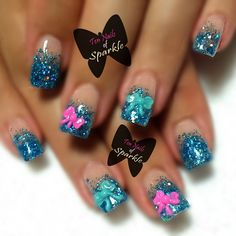 """Ocean Blue sculpted acrylic nails with 3D bows!"" Photo taken by @ten_nails_of_sparkle on Instagram, pinned via the InstaPin iOS App! http://www.instapinapp.com (09/10/2014)"