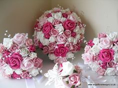 WEDDING BOUQUET ARTIFICIAL BRIDAL FLOWERS ROSES PINK CRYSTAL