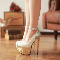 Fashion Round Closed Toe Platform Rivet Embellished Stiletto High Heels White PU Ankle Strap Pumps