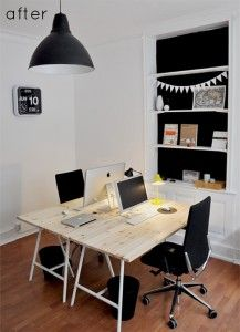 Clean & simple office space. Home office - beautiful desk - lovely, functional, clutter-free workspace for the home.