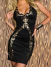 Black Foil Bodycon Dress – USD $ 14.50