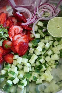 This easy light summer salad, made with cucumbers, strawberries, almonds and fresh herbs is great alongside grilled chicken, fish or for a light lunch you can double the serving and add some goat cheese to the mix or serve it over quinoa for more protein.  I'm love using balsamic glaze over salads, it's not just pretty it's sweet and tangy and there's no need for oil. Delallo makes the best one I've tried, but I've also seen the glaze at Trader Joes. If you don't have it, you can certainly…