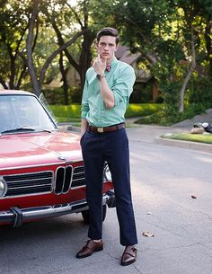 You can't go my wrong in my book with the combo of a Vintage BMW, Double Monks, nice hair, and a bow tie. Royce, Prep Style, My Style, Jaguar, Preppy Men, Its A Mans World, Photo Sessions, Dapper, Style Guides