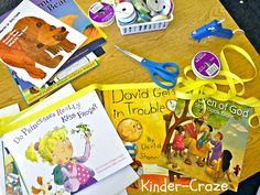 supplies to create a banner from children's book jackets