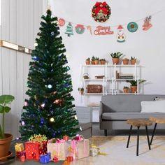 Goplus Fiber Optic Pre-Lit Christmas Tree, 7Ft