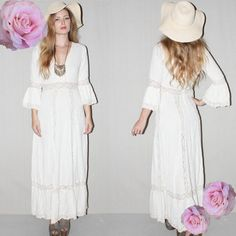 In a summery crocheted knit. | 36 Of The Most Effortlessly Beautiful Boho Wedding Dresses Ever