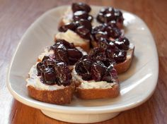 Goat Cheese and Balsamic-Roasted Cherry Crostini | Serious Eats  Try w roasted grapes!
