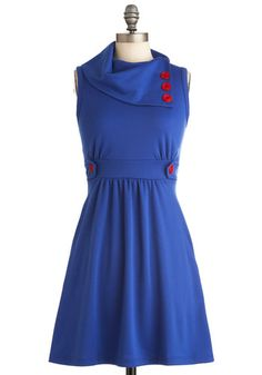 Coach Tour Dress in Azur - Mid-length, Casual, Nautical, Blue, Red, Solid, Buttons, A-line, Sleeveless, Pockets, Holiday Sale, Cowl, Work, Variation, Basic, Best Seller, Fall, Top Rated